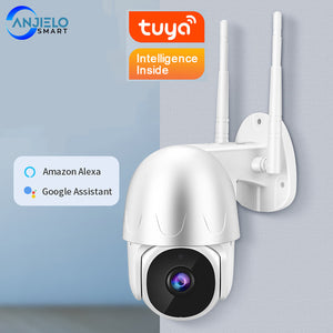 AnjieloSmart Tuya Smart Security Camera HD 1080P WiFi IP Dome Camera Outdoor