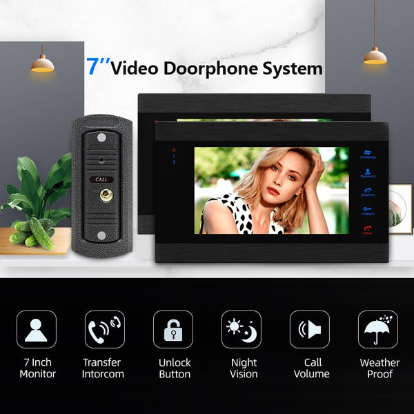 "2pcs 7"" Touch Button Monitor & 1pcs Waterproof Doorbell Camera 32G Memory Card Video Door Phone Intercom Security Entry System"