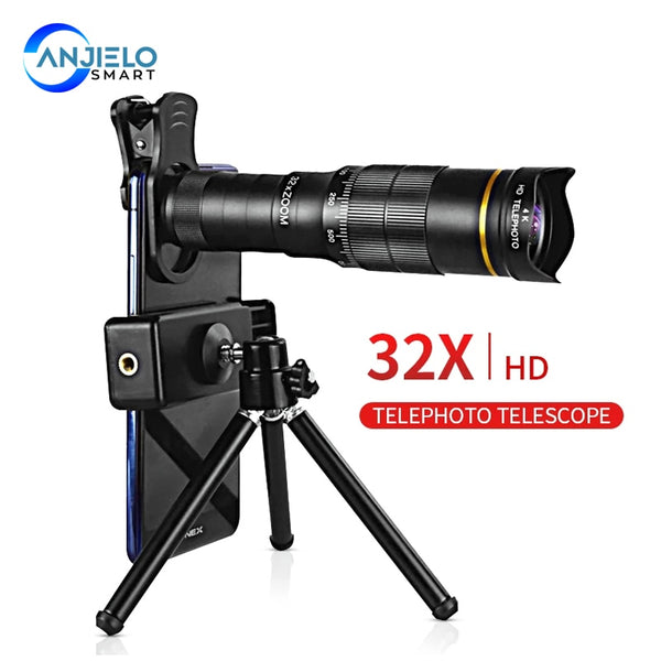 AnjieloSmart 32X Super Telephoto for Smartphone Mobile Phone Camera Lens 4K Zoom Monocular Telescope HD Long Range
