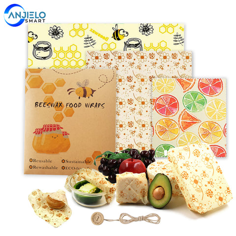 AnjieloSmart Beeswax Reusable Food Wraps Multiple Patterns and Sizes Eco Friendly Products Alternative to Plastic Wrap