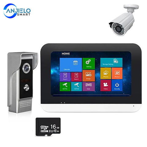 4-wired Video Door Phone Intercom System 1 Outdoor doorbell 1 Monitor with 16G Memory SD Card & Extra 1200TVL Security Camera