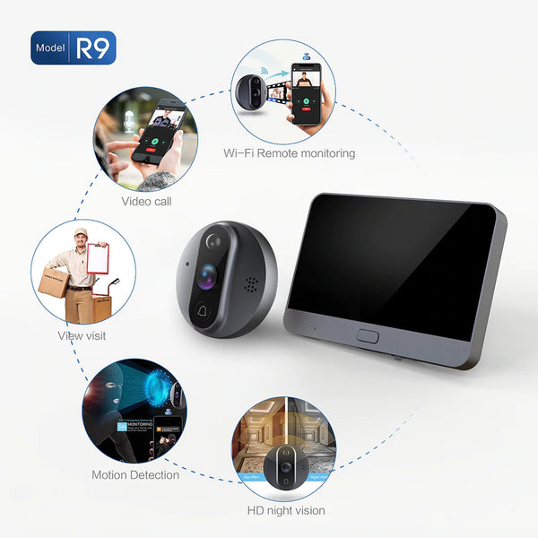 AnjieloSmart 720P Video Doorbell Smart Doorbell WiFi Peephole Camera Viwer Smart Doorbell Monitoring Set Night Vision