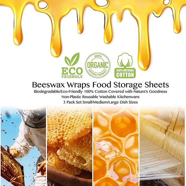AnjieloSmart Beeswax Reusable Food Wraps Multiple Patterns and Sizes Eco Friendly
