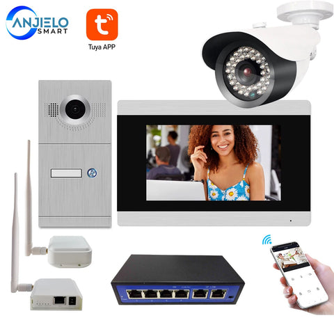 7 Inch Touch Screen WiFi IP Video Intercom System & Wireless Ethernet Air Connector Port Bridge with Security Camera LAN Switch