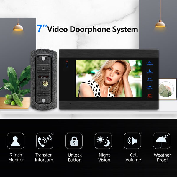 7 Inch Video Door Phone System Home 1200TVL Doorbell Camera with 32G Memory Card & Access Control Power Supply & Electric Lock