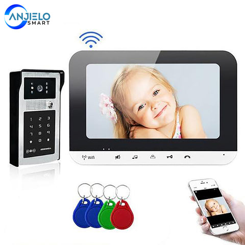 AnjieloSmart 7 Inch WiFi Smart Video Door Phone Intercom System with AHD Wired Doorbell Camera Home Security Record Remote Unlock For Villa