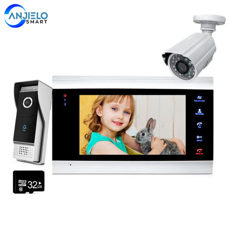 7'' Video Door Phone Doorbell Intercom Access Control System Motion Detection +Extra 1200TVL Outdoor Camera + 32G Memory SD Card