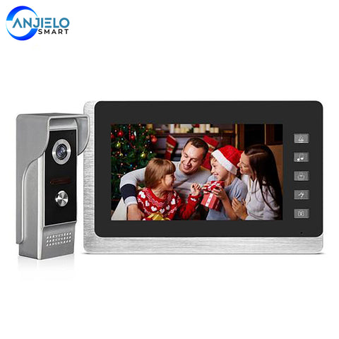 "AnjieloSmart 7"" Video Intercom System Doorbell Night Vision IR 700TVL Waterproof Door Camera Unlock for Home Apartment Video Door Phone Kit"