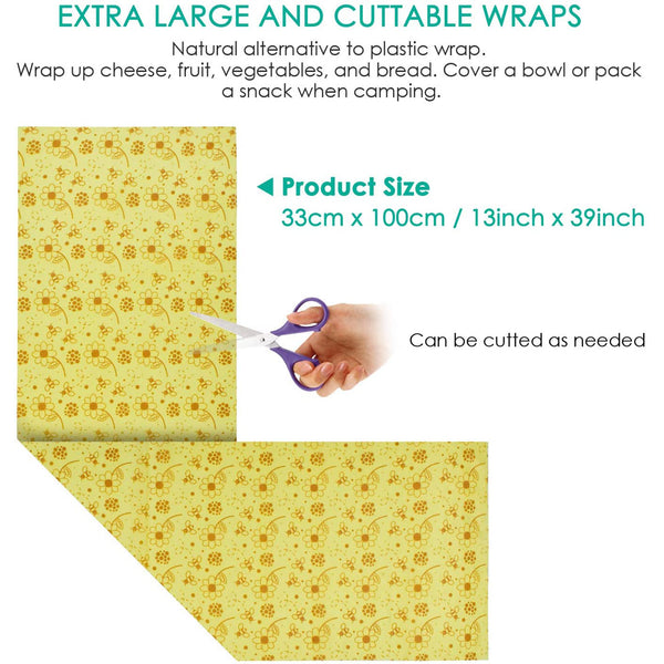 Beeswax Food Wrap roll Reusable beeswax wrap Eco-Friendly Bees wrap for Sandwiches