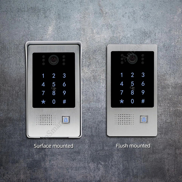 AnjieloSmart 720P WiFi IP Video Doorbell with  7'' Touch Screen Remote Unlock Code Keypad RFIC Card Access Control