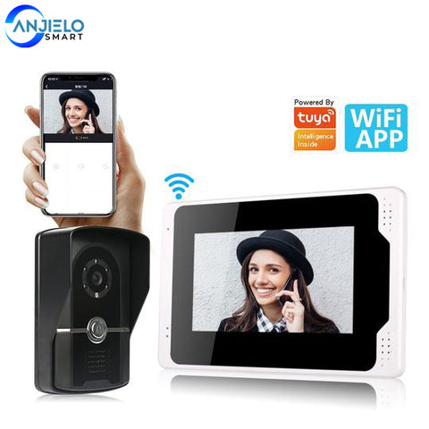 "Tuya Smart HD 1080P 7"" Wired WiFi LCD Home Video Doorphone 1200TVL IP65 Outdoor Camera Video Intercom System Motion Detection"