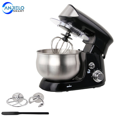 AnjieloSmart Stand Mixer 6-Speed 600W 3.7QT with Dough Hook Whisk Beater and Cover for Kitchen Food