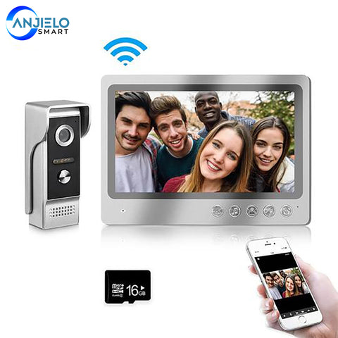 AnjieloSmart 9 Inch Screen Video Doorbell with Monitor WiFi Door phone with Wired Camera IR Vision, Remote Unlock,Record,Snapshot APP