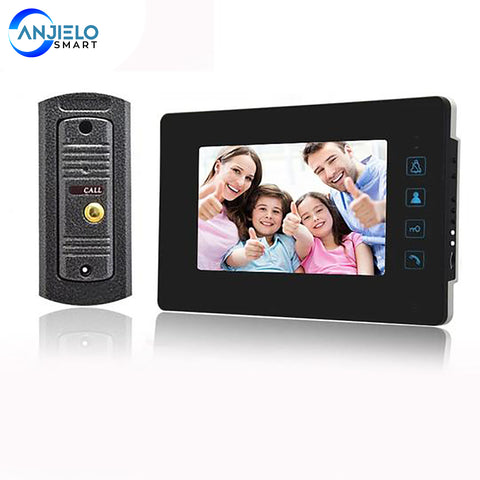 AnjielaSmart 7 inch LCD Video Doorbell Door phone Record Intercom System Infrared Night Vision Camera with 16GB TF Card
