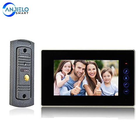 AnjielaSmart 7 Inch Video Doorbell Door Phone Record Intercom System Infrared Night Vision Camera with 16G TF Card