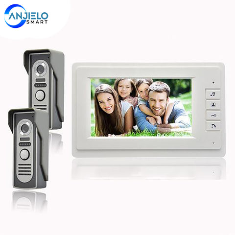 AnjieloSmart Home security 7 inch video door phone intercom system 2 cameras 1 monitor 2 door 1 house doorphone Speaker intercom