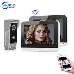 AnjieloSmart 7 Inch Wifi Video Intercom for Home Monitor Video Doorbell with Camera Unlock Doorbell for Home Security