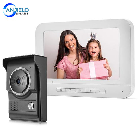 AnjieloSmart 7 inch Monitor Doorbell Dual-Way Intercom Wired Video Door Phone for Home Security System Support Electric Lock Connect