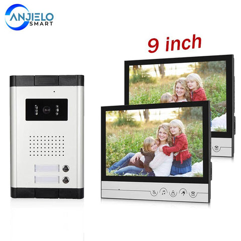 AnjieloSmart Big 9 Inch Indoor Monitor Video Intercom For Apartment  Video Entryphone With IR Night Vision Camera