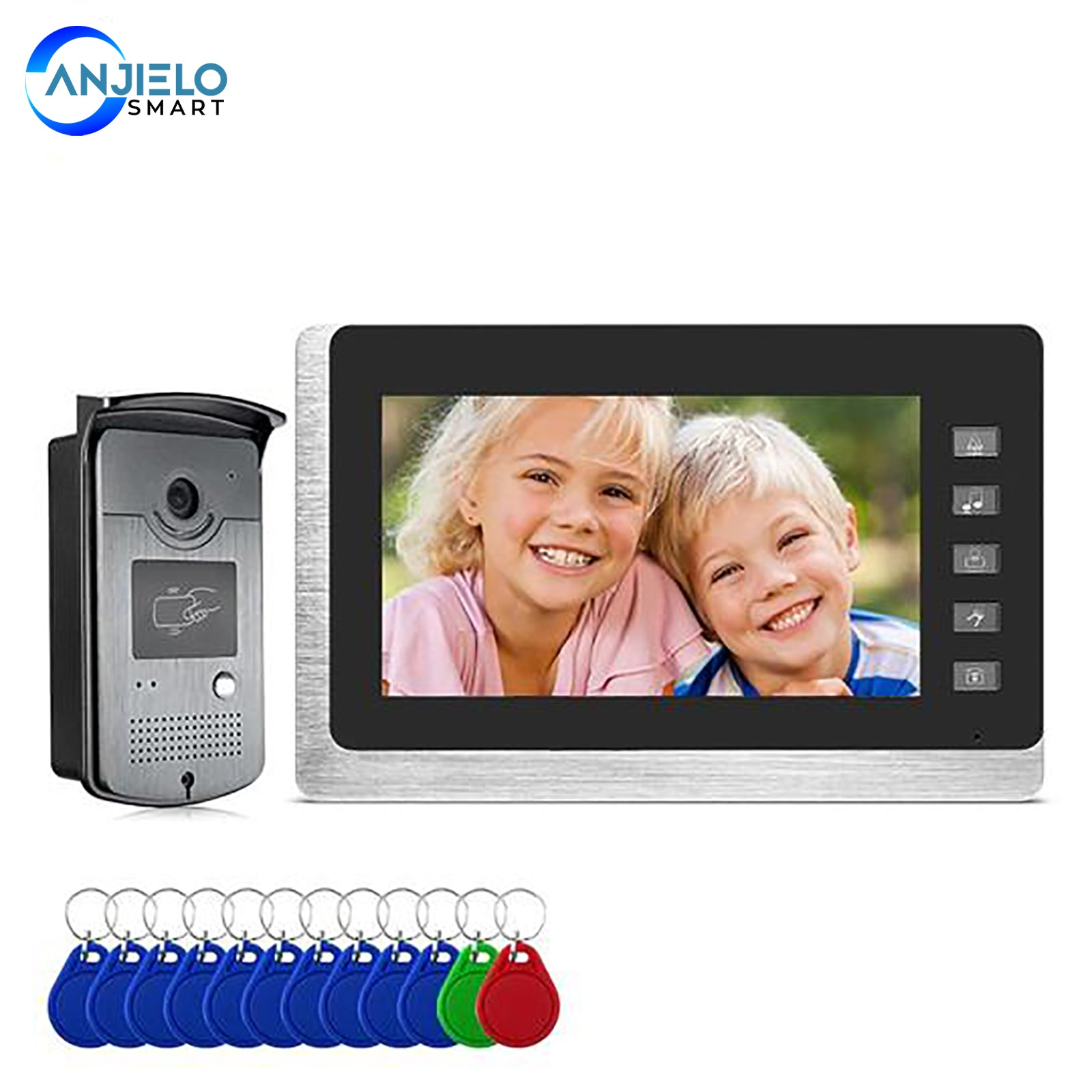 AnjieloSmart Video Door Intercom Entry System Kit Wired Video Doorbell Phone Rainproof Call Panel IR Camera for Home Security