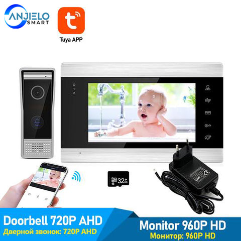 "AnjieloSmart WiFi Tuya 7"" Video Door Phone Intercom System with 720P/AHD Wired Doorbell Camera Remote Unlock Motion Detection"