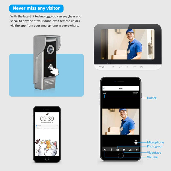 AnjieloSmart Wifi Video Doorphone Intercom Doorbell System IOS/Android Smart Mobile Phone App Remote Unlock Home Access Control For Villa