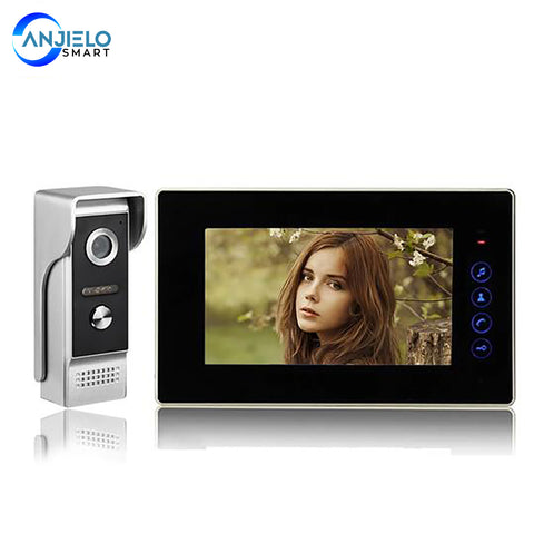 AnjieloSmart Wired Video Door Bell Intercom System with 7'' Inch Color Monitor Waterproof outdoor IR Camera for private homes