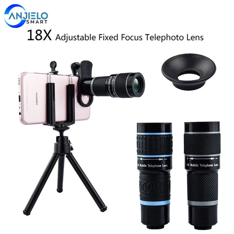 Anjielosmaet 18X Telescope Zoom Mobile Phone Lens for iPhone Samsung Smartphones Universal clip Telefon Camera Lens with  tripod