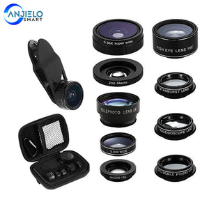 Anjielosmart 9 in 1 Phone Lens Kit  Wide Angle Camera Lens Macro Lens Telephoto Portrait Phone Camera Lens for smartphone