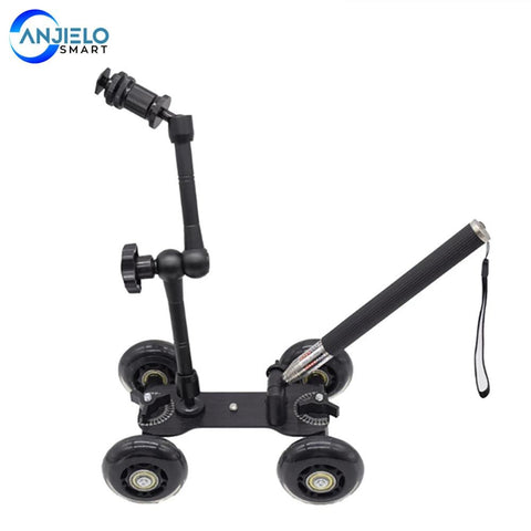 Anjielosmart Camera Photography Rail Car Four-Wheeled Black Ultra-Quiet Desktop Mini SLR Camera Trolley
