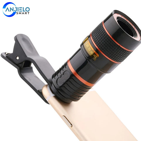 Anjielosmart Cell Phone Camera Lens, 12X Zoom Telescope Universal Clip-On Telephoto Lens Kit for iPhone, Samsung,Googel Pixel