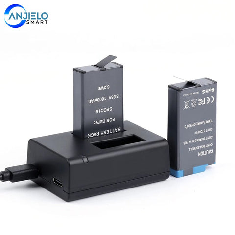 Anjielosmart Dual USB Battery Charger for GoPro MAX Fast Charging Dock with Data Cable and Battery for gopro Accessories
