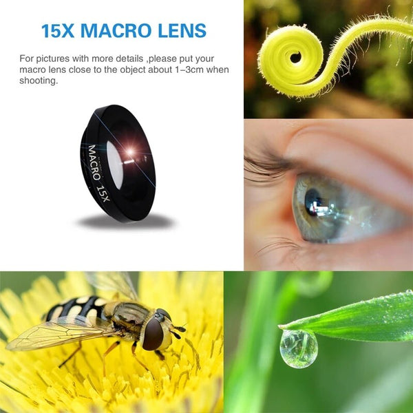 Anjielosmart Extra Clips Mobile Phone Camera Lens 15x Macro 0.63x Wide Angle 198 Degree Fish Eye