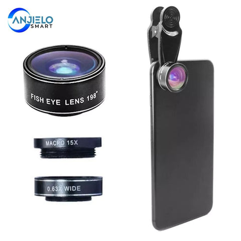 Anjielosmart Mobile Phone 198-degree Fish Eye Wide Angle 15X Macro Camera Lens Kit for iPhone
