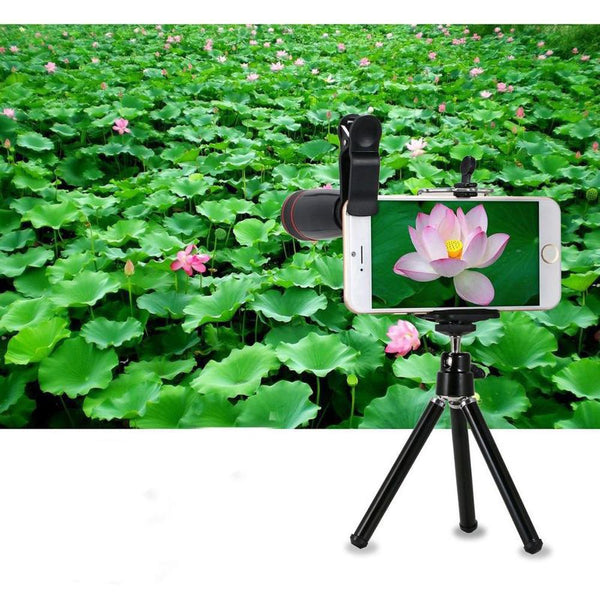 Anjielosmart Multifunction 8 In 1 Mobile Phone Telephoto Lens Three In One Fish-eye Wide-angle Macro Lens 8 Times Telescope