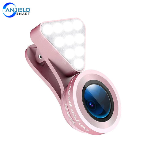 Anjielosmart New 2 in 1 Cell Phone Lens Rechargeable Selfie LED Macro 0.4X-0.6X Wide Angle Lens Adjustable Clip On Fill Light