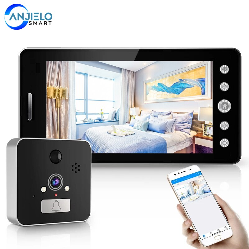Anjielosmart New 5 Inch 1080P HD Wireless Peephole Security Doorbell  Video Visual Intercom Night-Vision Pir Smart Wifi Doorbell