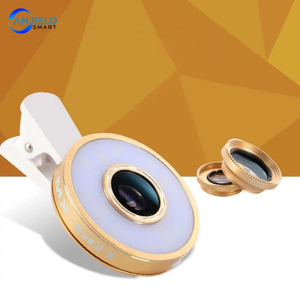 Anjielosmart New 6 in 1 Phone Lens Kit with  Filling Light 8 LEDs  Wide-angle Fish-eye Lens for Smartphone iphone