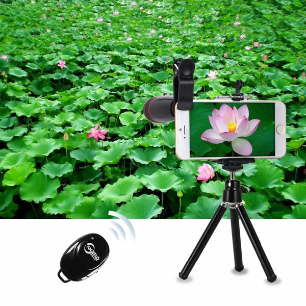 Anjielosmart New Travel Kit 9 in1  Phone Camera Lens Kit Telescope Wide-angle Macro Lens for iPhone Samsung Smartphone