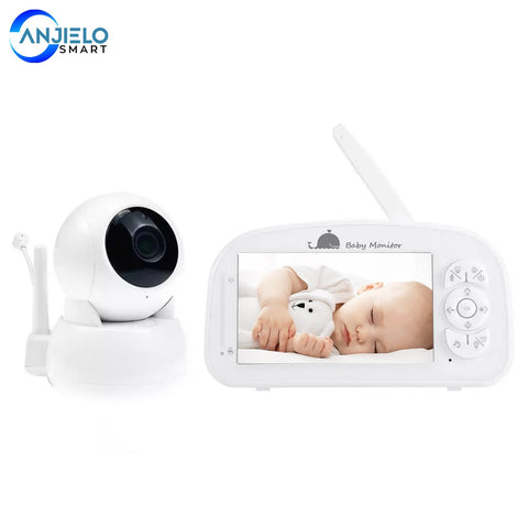 "Anjielosmart New Wireless 5"" 1080P HD Baby Monitor Intercom 2-Way Audio Auto Night Vision Temperature Monitoring Lullabies"