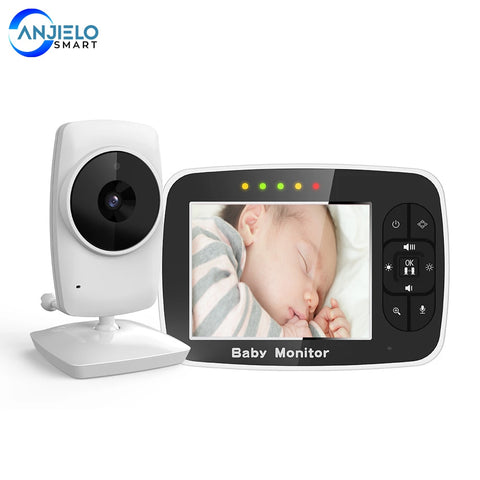 Anjielosmart Newest 3.5 inch wireless Baby Monitor Infant Night Vision Camera, Two Way intercom,Temperature Sensor,ECO Mode
