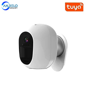 Anjielosmart Tuya WIFI White Security Camera Solar Charge 1080P Night Vision
