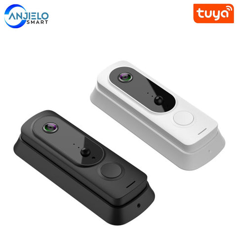 Anjielosmart Tuya Wireless Video Doorbell Wi-Fi Weatherproof Doorbell Camera with Chime Motion Activated Alerts and Night Vision