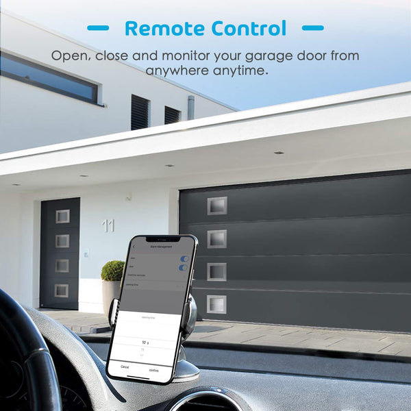 Anjielosmart WiFi Remotely Control Existing Garage Door Opener with Tuya App, Works with Alexa and Assistant No Hub Required