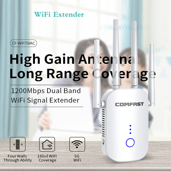 AnjieloSmart WiFi Extender Signal Booster 1200Mbps Dual Band Network Repeater