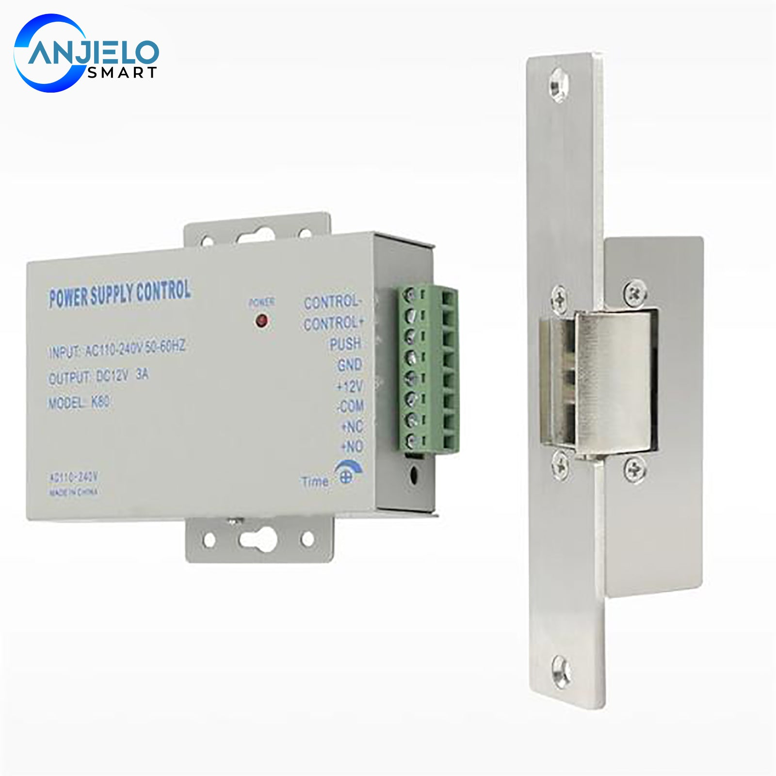 AnjieloSmart Electric Strike Lock Narrow Type Electric Door Lock with Power Supply Control