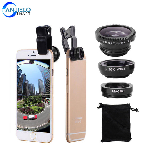 AnjieloSmart 3-in-1 Wide Angle Macro Fisheye Lens Camera Kits & Clip for Smart Phones