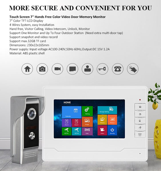 "AnjieloSmart Doorbell 7"" Tourch screen Wired Video Door Phone Intercom System Access Control Record waterproof night vision"