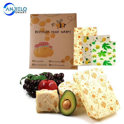 AnjieloSmart Reusable Beewax Food Wrap Alternative for Food Storage Eco Friendly
