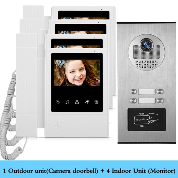 AnjieloSmart Home 4.3'' TFT Wired Video Intercom Doorbell System RFID Camera with 2/3/4 Monitor Doorphone